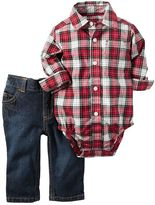Carter's Baby Boy Plaid Button-Down Bodysuit & Jeans Set