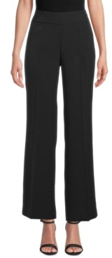 Kasper Wide-Leg Crepe Side-Zip Pants