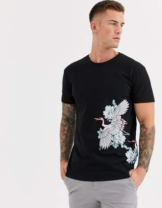 Selected organic cotton o-neck t-shirt-Black