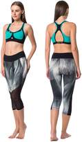 Guely Ray DIANA Junior's Yoga Wear Maldive Green and Graphic Print Color Blocked Sports Bra and Capri Set