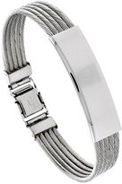 Sabrina Silver Stainless Steel Cable ID Bracelet For Men 1/2 inch wide, 8 inch long