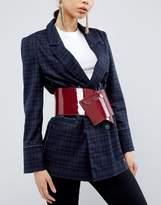 Asos Wide Popper Detail Patent Elastic Sash Waist Belt