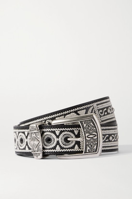 Etro Embroidered Studded Glossed-leather Belt - Black