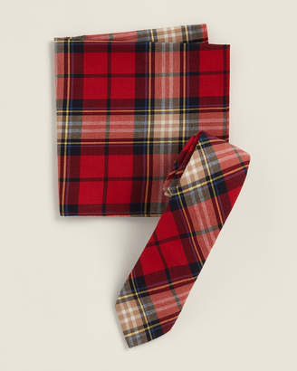 Original Penguin Two-Piece Santree Plaid Red Pattern Tie & Pocket Square Set