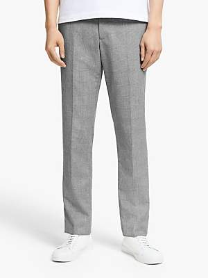 KIN Wool Check Slim Fit Suit Trousers, Grey