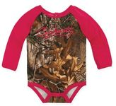 Carhartt Size 3M Camo Raglan Long Sleeve Bodysuit in Brown/Pink