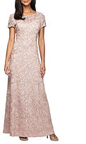 Alex Evenings Short-Sleeve Lace A-Line Gown