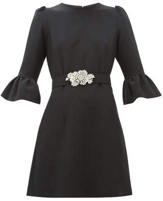 Andrew Gn Embellished-belt Crepe Dress - Black Multi
