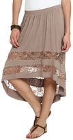 Wet Seal WetSeal Lace Inset High-Low Skirt Mocha
