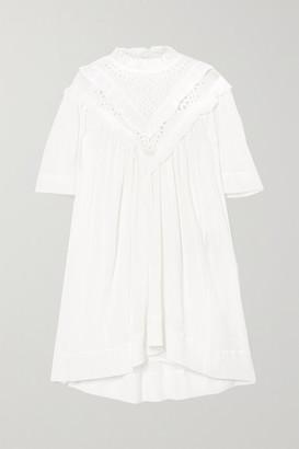 Etoile Isabel Marant Inalio Ruffled Crinkled Cotton-blend Dress - White
