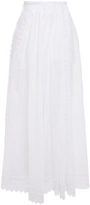 Charo Ruiz Ibiza Vega Crocheted Lace-paneled Cotton-blend Voile Maxi Skirt