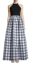 Aidan Mattox Sleeveless Gingham Combo Gown, Black/Silver