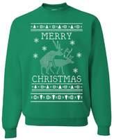 Tee Hunt Merry Christmas Crew Neck Sweatshirt Deer Humping Ugly Sweatshirt L