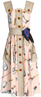 Dolce & Gabbana Canvas-trimmed Embellished Printed Cotton-blend Midi Dress