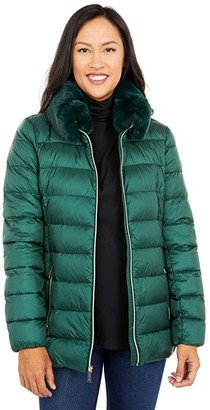 MICHAEL Michael Kors Belted Down with Faux Fur Collar M824839BNM (Dark Emerald) Women's Clothing
