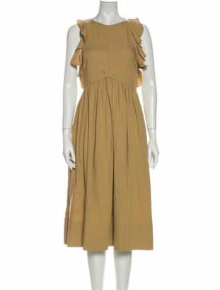 Ulla Johnson Scoop Neck Midi Length Dress w/ Tags Brown