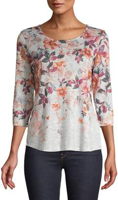 Style&Co. Style & Co. Three-Quarter-Sleeve Floral-Print Blouse