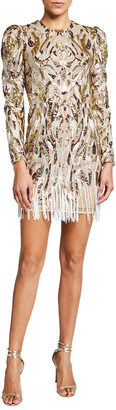 Dress the Population Avena Sequined Long-Sleeve Fring-Hem Mini Dress