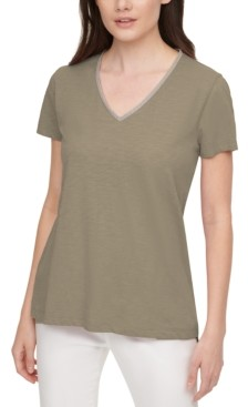 DKNY Embellished V-Neck Cotton T-Shirt