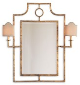 The Well Appointed House Doheny Gold Leaf Wall Mirror with Sconces
