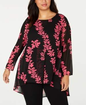 Alfani Plus Size Printed Overlay High-Low Tunic, Created for Macy's