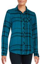Calvin Klein Plaid Button-Front Blouse