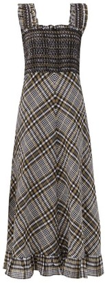 Ganni Smocked Checked Cotton-blend Seersucker Maxi Dress - Grey Multi