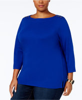 Karen Scott Plus Size Ribbed-Trim Top, Created for Macy's