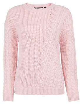 Dorothy Perkins Womens Breast Cancer Care Blush Diagonal Cable Jumper