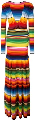 Carolina Herrera Striped Tiered Maxi Dress