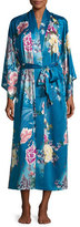 Natori Serene Satin Robe, Seaport Blue