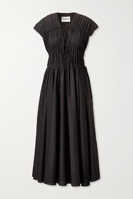 TOVE Ceres Gathered Organic Cotton-poplin Midi Dress - Black