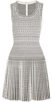 Alaia Pleated Wool-blend Jacquard Mini Dress