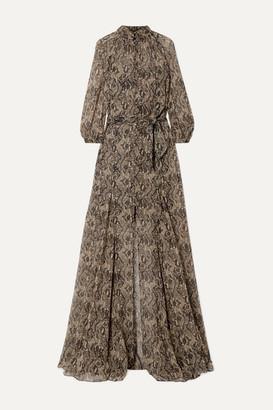 Veronica Beard Ascot Belted Snake-print Silk-chiffon Maxi Dress - Snake print