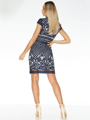 Quiz Crochet High Neck Cap Sleeve Midi Dress - Blue