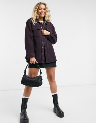 And other stories & wool blend oversize shacket in burgundy