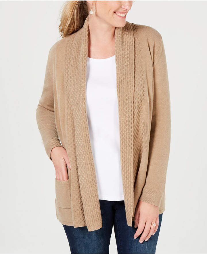 Karen Scott Textured Open-Front Cardigan
