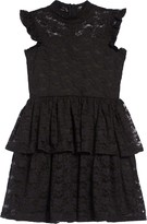 BCBGMAXAZRIA Girls Girl Mock Neck Lace Tiered Dress