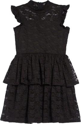 BCBGMAXAZRIA Girls Mock Neck Lace Tiered Dress