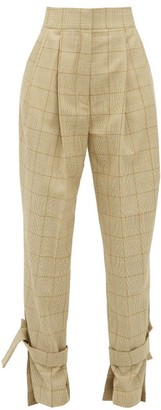 Petar Petrov Hico Checked Wool High-rise Trousers - Womens - Brown Multi