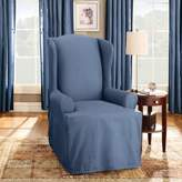 Sure Fit Cotton Duck T-Cushion Wingback Slipcover