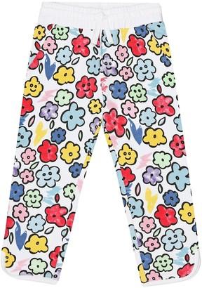 Stella McCartney Kids Smiling Flowers cotton trackpants
