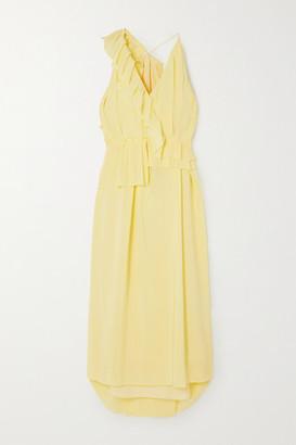 Victoria Beckham Asymmetric Ruffled Silk-georgette Midi Dress - Pastel yellow