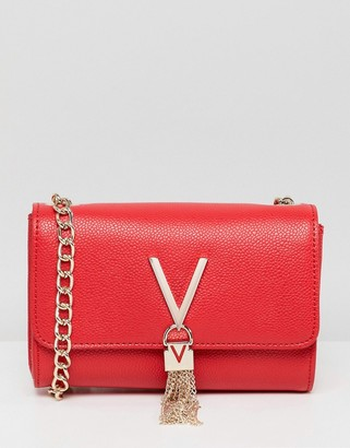 Valentino by Mario Valentino Divina foldover tassel detail cross body bag in red