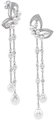 Majorica Sterling Silver, Faux Pearl & Cubic Zirconia Butterfly Chandelier Earrings