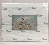 Panama Jack Signature Collection 100% Cotton QUEEN Sheet Set White Grey Whales
