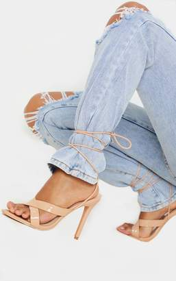 PrettyLittleThing Nude Cross Strap Ankle Lace Up Heeled Sandal