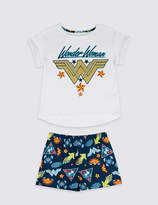 Marks and Spencer Wonder WomanTM Pure Cotton Short Pyjamas (5-14 Years)