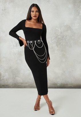 Missguided Black Split Sleeve Square Neck Midaxi Dress