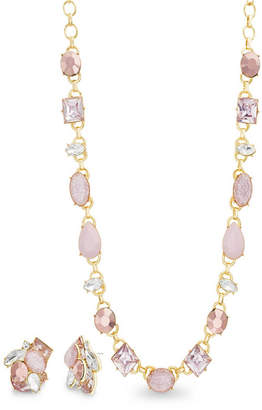Catherine Malandrino Women Pink Rhinestone Yellow Gold-Tone Cluster Earring And Necklace Set
